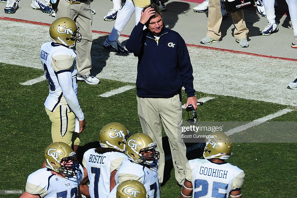 Head coach Paul Johnson of the Georgia Tech Yellow Jackets reacts to a play during the game against the Georgia Bulldogs at Sanford Stadium on November 24, 2012 in Athens, Georgia.