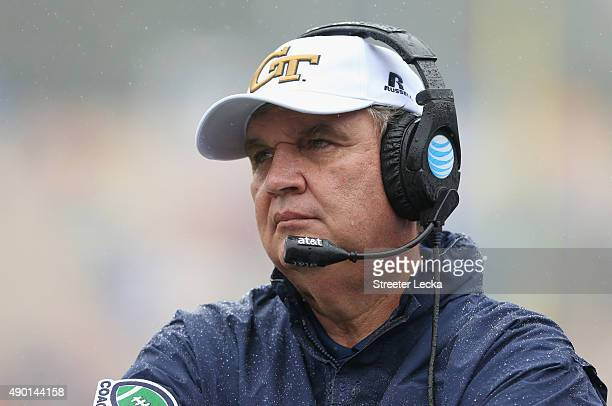 Head coach Paul Johnson of the Georgia Tech Yellow Jackets watches on against the Duke Blue Devils during their game at Wallace Wade Stadium on...
