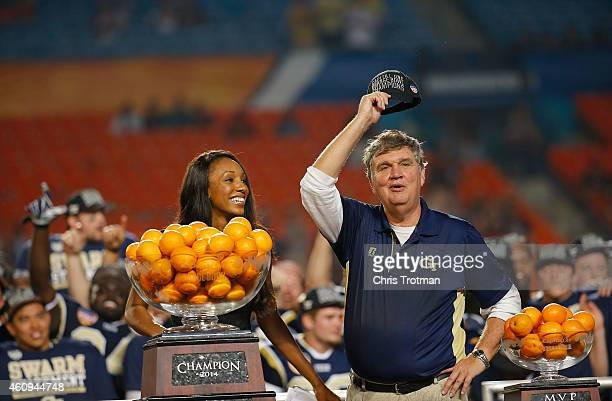 Head coach Paul Johnson of the Georgia Tech Yellow Jackets waves to the crowd after the Capital One Orange Bowl game against the Mississippi State...