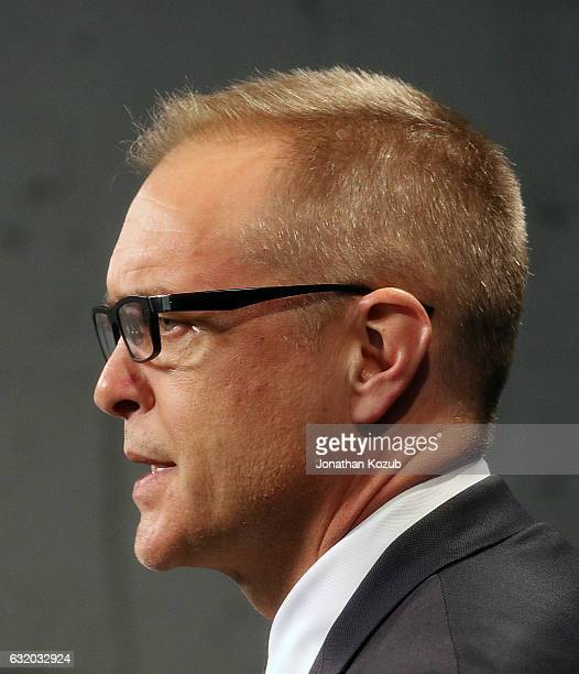 Head Coach Paul Maurice of the Winnipeg Jets answers questions for the media during his postgame press conference following a 63 victory over the...