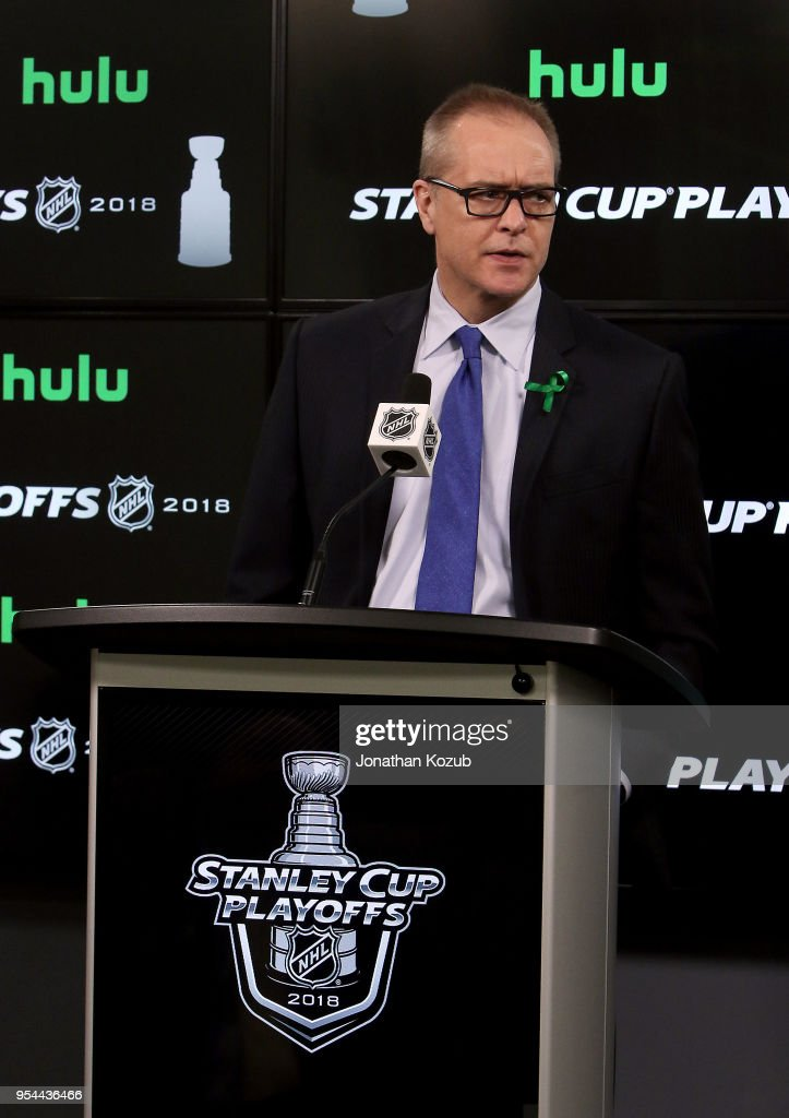 Head Coach Paul Maurice of the Winnipeg Jets answers questions in the post-game press conference following a 2-1 loss to the Nashville Predators in Game Four of the Western Conference Second Round during the 2018 NHL Stanley Cup Playoffs at the Bell MTS Place on May 3, 2018 in Winnipeg, Manitoba, Canada. The series is tied 2-2.