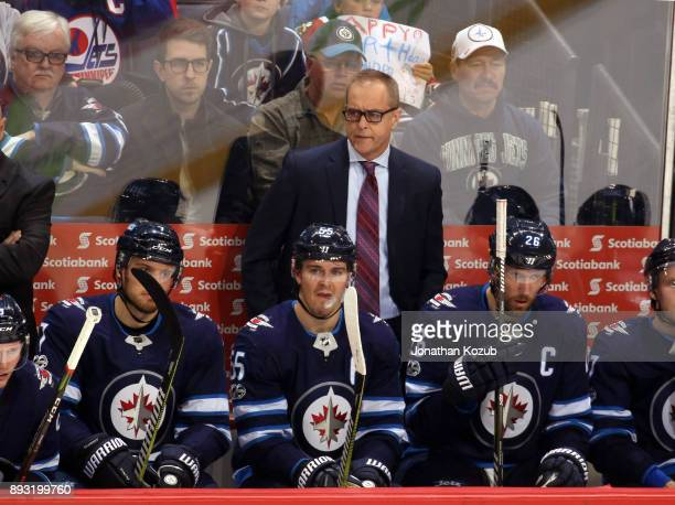 Head Coach Paul Maurice of the Winnipeg Jets looks on from the bench during second period action against the Chicago Blackhawks at the Bell MTS Place...