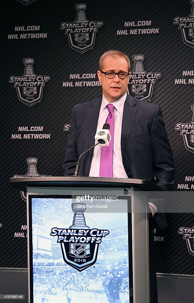 Head Coach Paul Maurice of the Winnipeg Jets speaks in the post-game press conference following a 5-2 loss to the Anaheim Ducks in Game Four of the Western Conference Quarterfinals during the 2015 NHL Stanley Cup Playoffs on April 22, 2015 at the MTS Centre in Winnipeg, Manitoba, Canada. The Ducks swept the series 4-0.