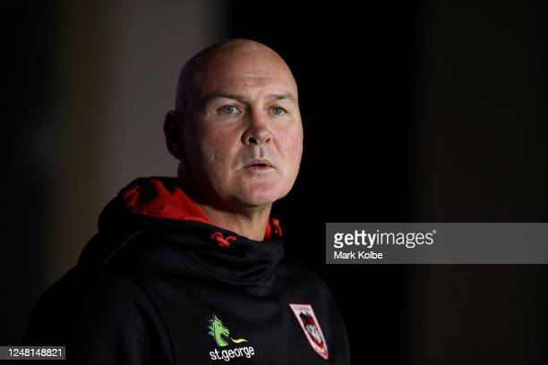 Head coach Paul McGregor of the Dragons answers questions at the press conference after losing the round four NRL match between the Canterbury...