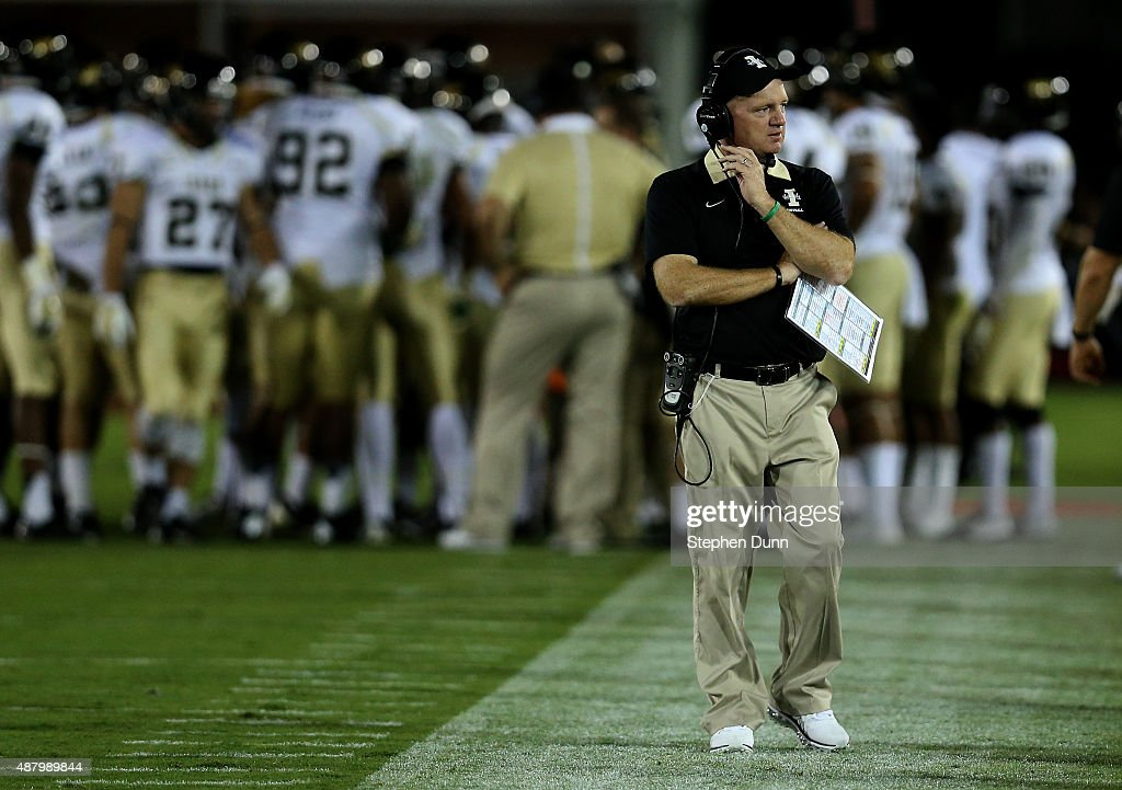 Head coach Paul Petrino of the Idaho Vandals on the sidelines in the game against the USC Trojans at Los Angeles Memorial Coliseum on September 12, 2015 in Los Angeles, California.