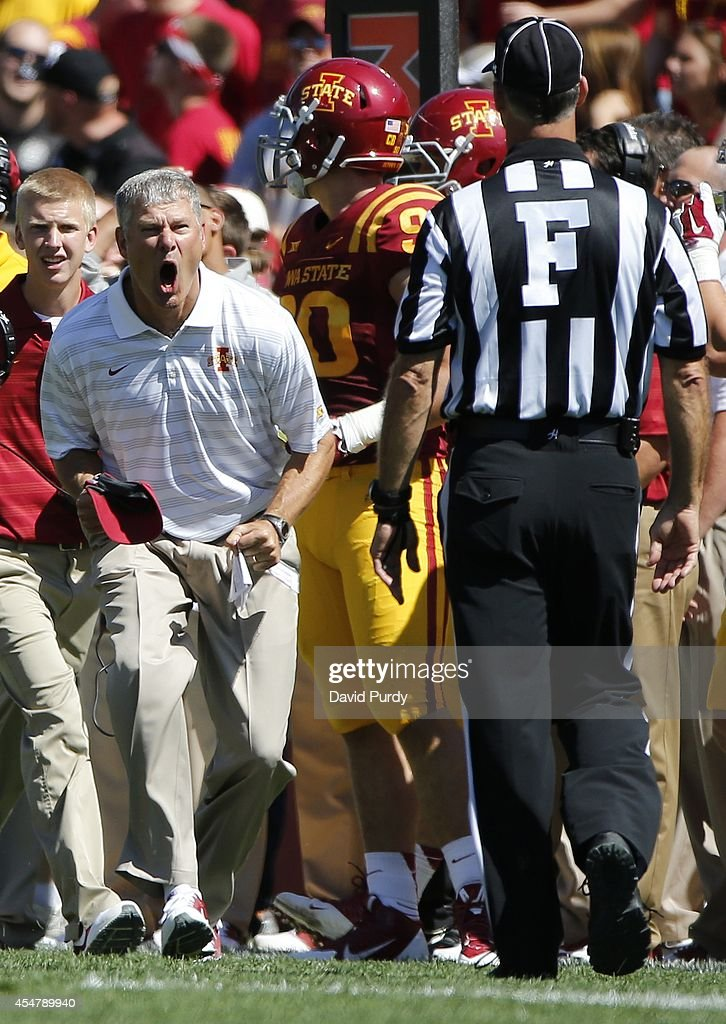 Head coach Paul Rhoads of the Iowa State Cyclones argues a call in the first half of play against the Kansas State Wildcats at Jack Trice Stadium on September 6, 2014 in Ames, Iowa.