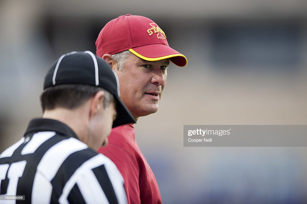 Head coach Paul Rhoads of the Iowa State Cyclones speaks with an official during the Big 12 Conference game against the TCU Horned Frogs on October 6, 2012 at Amon G. Carter Stadium in Fort Worth, Texas.