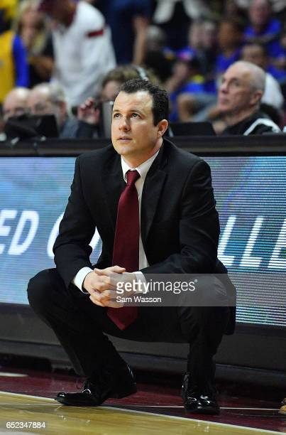 Head coach Paul Weir of the New Mexico State Aggies looks on late in the second half during the championship game of the Western Athletic Conference...