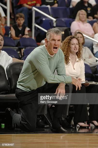 Head coach Paul Westhead of the Phoenix Mercury coaches his team against the Connecticut Sun during their preseason WNBA game on May 13, 2006 at US...