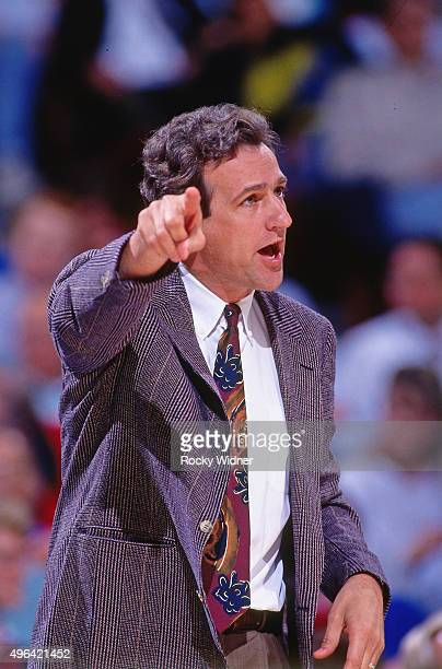 Head Coach Paul Westphal of the Phoenix Suns points against the Sacramento Kings circa 1993 at Arco Arena in Sacramento California NOTE TO USER User...