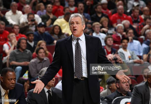 Head coach Paul Westphal of the Sacramento Kings looks on during the game against the Chicago Bulls on March 21 2011 at the United Center in Chicago...