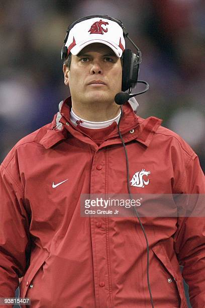 Head coach Paul Wulff of the Washington State Cougars looks on during the game against the Washington Huskies on November 28, 2009 at Husky Stadium...