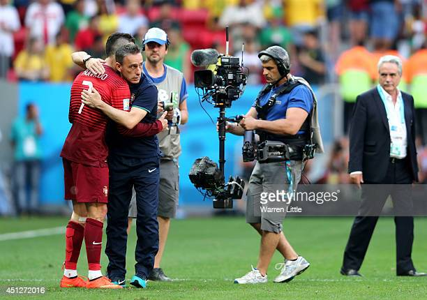 Head coach Paulo Bento of Portugal consoles Cristiano Ronaldo after the 2014 FIFA World Cup Brazil Group G match between Portugal and Ghana at...