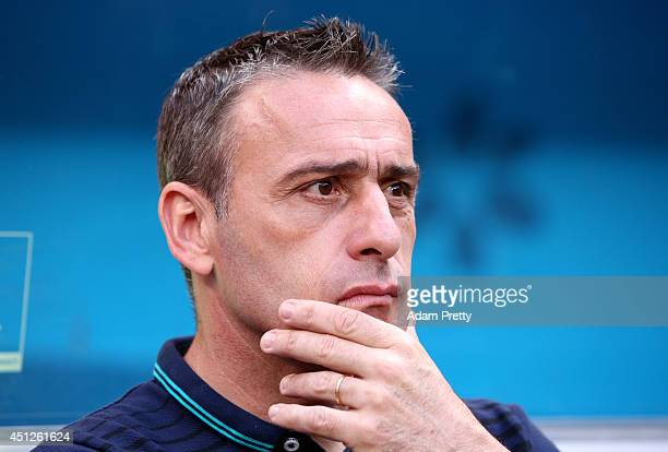 Head coach Paulo Bento of Portugal looks on prior to the 2014 FIFA World Cup Brazil Group G match between Portugal and Ghana at Estadio Nacional on...