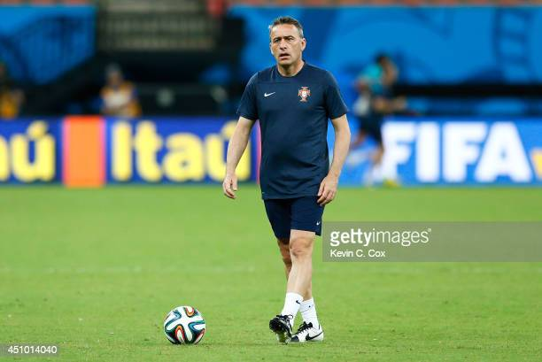 Head coach Paulo Bento of Portugal plays with a ball during training at Arena Amazonia on June 21, 2014 in Manaus, Brazil.