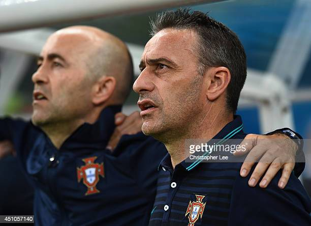 Head coach Paulo Bento of Portugal sings the National Anthem prior to the 2014 FIFA World Cup Brazil Group G match between the United States and...