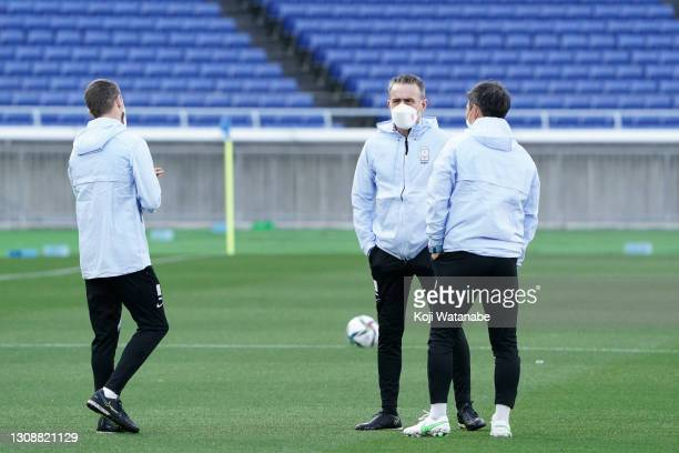 Head coach Paulo Bento of South Korea is seen during a training session ahead of the international friendly match between Japan and South Korea at...