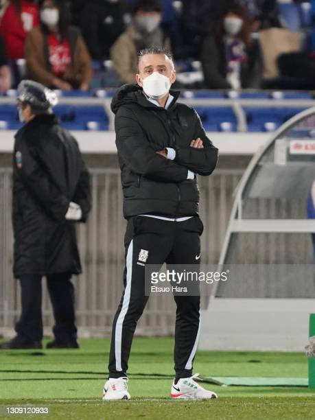 Head coach Paulo Bento of South Korea looks on during the international friendly match between Japan and South Korea at the Nissan Stadium on March...