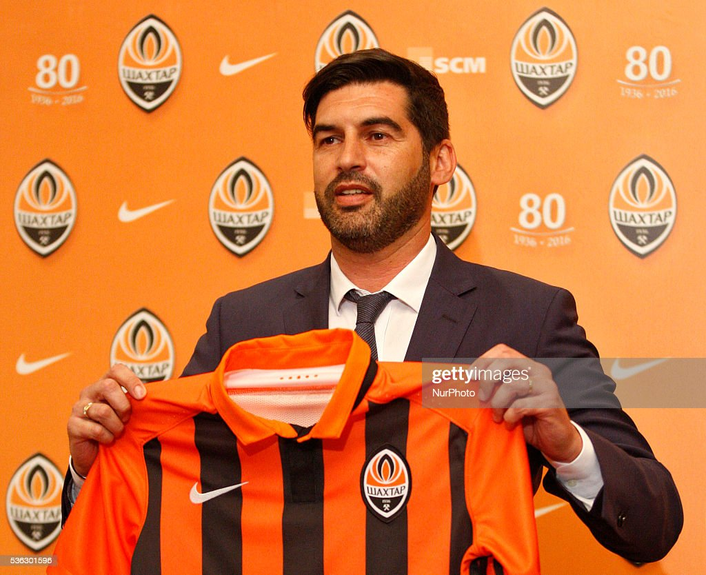 Head coach Paulo Fonseca shows his FC Shakhtar jersey during his presentation as a new head coach,at a press conference in Kiev,Ukraine,01 June,2016