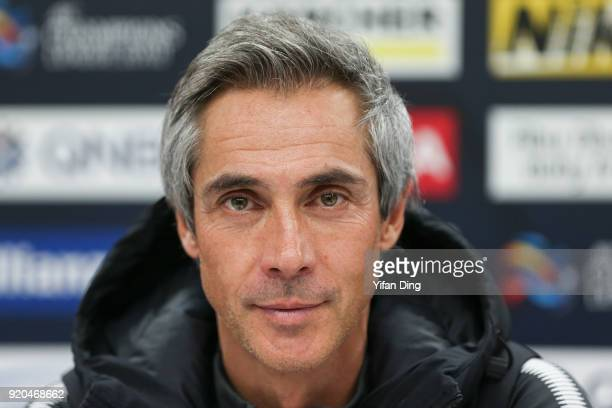 Head Coach Paulo Sousa of Tianjin Quanjian looks during the press conference before the 2018 AFC Champions League match between Kasshiwa Reysol and...