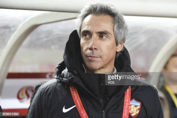 Head coach Paulo Sousa of Tianjin Quanjian looks on during the 2018 Chinese Football Association Super League first round match between Henan Jianye...