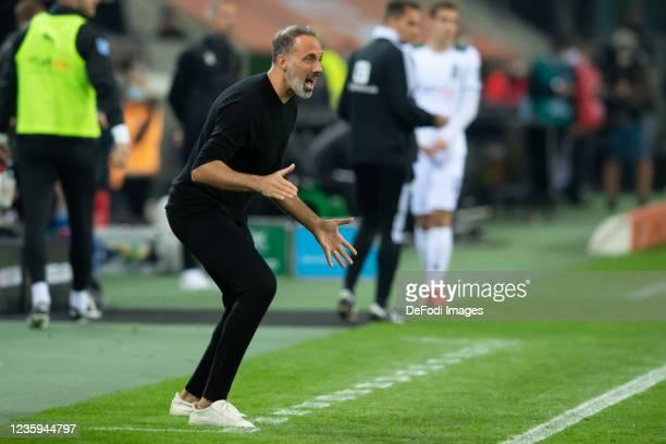 Head coach Pellegrino Matarazzo of VfB Stuttgart yells during the Bundesliga match between Borussia Mönchengladbach and VfB Stuttgart at...