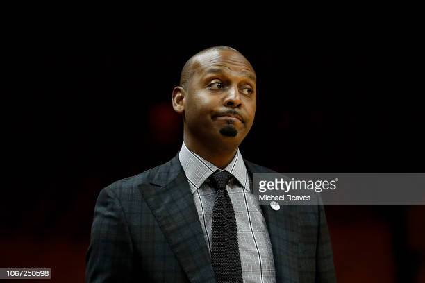 Head coach Penny Hardaway of the Memphis Tigers reacts against the Texas Tech Red Raiders during the HoopHall Miami Invitational at American Airlines...