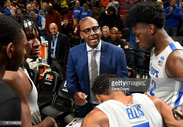 Head coach Penny Hardaway of the Memphis Tigers speaks to his team before the game at Moda Center on November 12 2019 in Portland Oregon Oregon won...