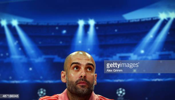 Head coach Pep Guardiola looks on during the FC Bayern Muenchen press conference ahead of their UEFA Champions League semifinal second leg match...