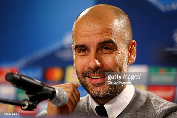 Head coach Pep Guardiola of Manchester Citty attends a press conference ahead of the UEFA Champions League match between Borussia Moenchengladbach...