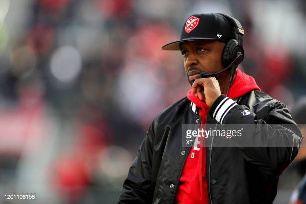 Head Coach Pep Hamilton of the DC Defenders looks on during the game against the New York Guardians at Audi Field on February 15 2020 in Washington DC