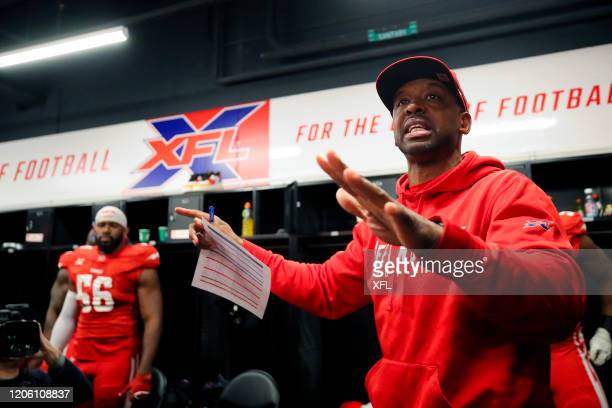 Head coach Pep Hamilton of the DC Defenders talks to the team at halftime during the XFL game against the St Louis BattleHawks at Audi Field on March...