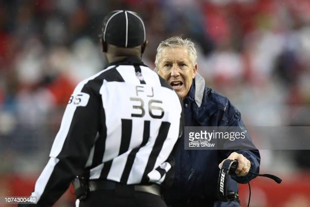 Head coach Pete Carroll of the Seattle Seahawks argues with line judge Tony Veteri during their NFL game against the San Francisco 49ers at Levi's...