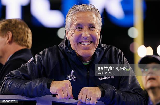Head coach Pete Carroll of the Seattle Seahawks celebrates after their 43-8 victory over the Denver Broncos during Super Bowl XLVIII at MetLife...