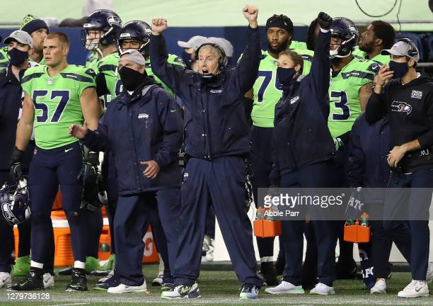 Head coach Pete Carroll of the Seattle Seahawks celebrates the win as time expires against the Minnesota Vikings at CenturyLink Field on October 11,...