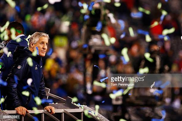 Head coach Pete Carroll of the Seattle Seahawks celebrates their 43 to 8 win over the Denver Broncos during Super Bowl XLVIII at MetLife Stadium on...
