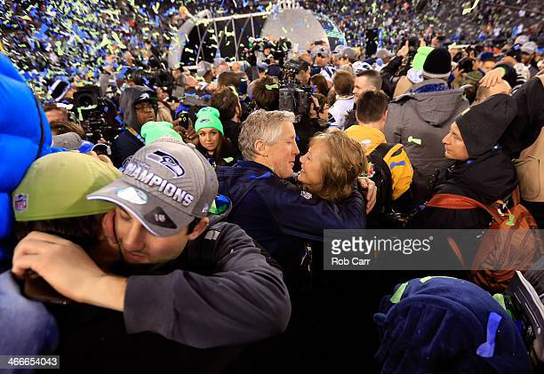 Head coach Pete Carroll of the Seattle Seahawks celebrates with his wife Glena after their 438 victory over the Denver Broncos during Super Bowl...