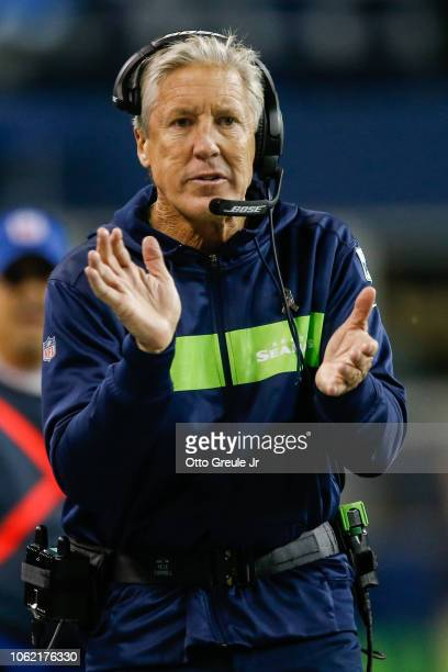 Head coach Pete Carroll of the Seattle Seahawks in the first half against the Green Bay Packers at CenturyLink Field on November 15 2018 in Seattle...
