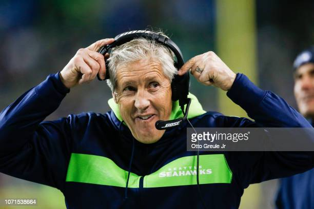 Head coach Pete Carroll of the Seattle Seahawks in the second quarter against the Minnesota Vikings at CenturyLink Field on December 10 2018 in...