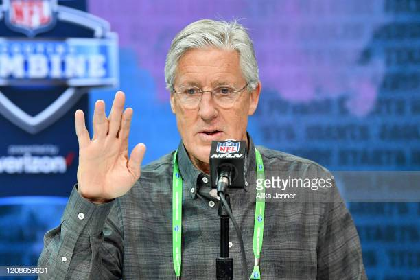 Head coach Pete Carroll of the Seattle Seahawks interviews during the first day of the NFL Scouting Combine at Lucas Oil Stadium on February 25 2020...