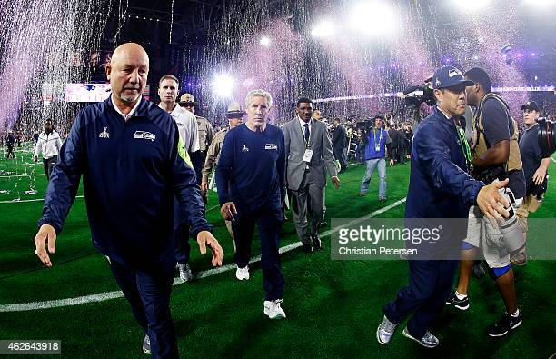 Head coach Pete Carroll of the Seattle Seahawks leaves the field after losing 28-24 to the New England Patriots during Super Bowl XLIX at University...