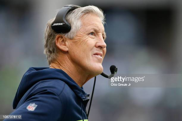 Head coach Pete Carroll of the Seattle Seahawks looks on against the Los Angeles Chargers at CenturyLink Field on November 4 2018 in Seattle...