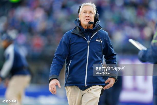 Head coach Pete Carroll of the Seattle Seahawks looks on against the New York Giants at MetLife Stadium on December 15, 2013 in East Rutherford, New...