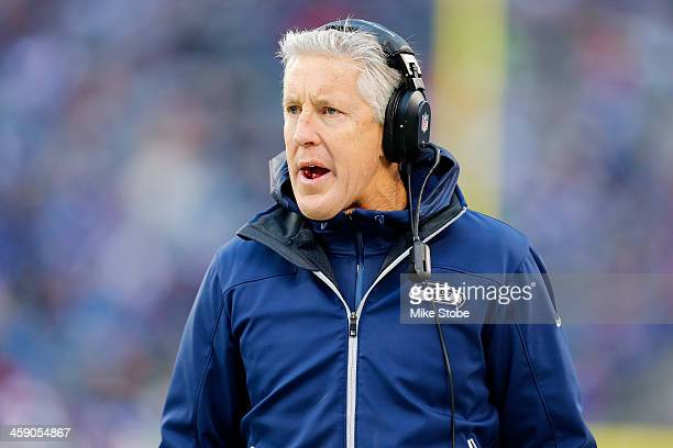 head coach Pete Carroll of the Seattle Seahawks looks on against the New York Giants at MetLife Stadium on December 15 2013 in East Rutherford New...