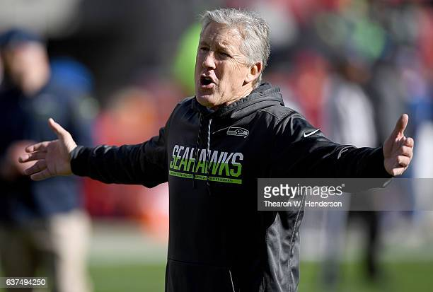 Head coach Pete Carroll of the Seattle Seahawks looks on while his team warms up prior to the start of an NFL football game against the San Francisco...