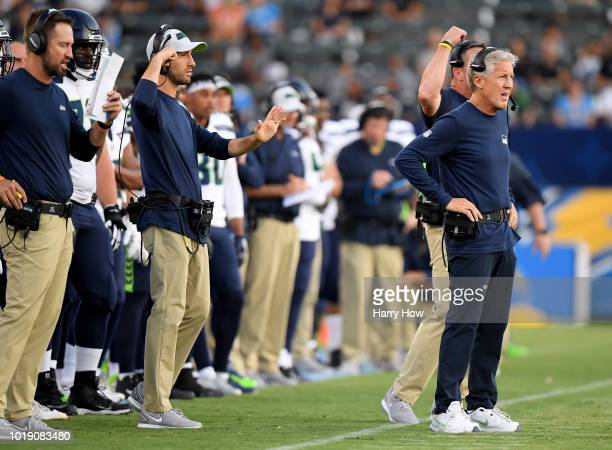 Head coach Pete Carroll of the Seattle Seahawks on the sidelines during a presseason game against the Los Angeles Chargers at StubHub Center on...