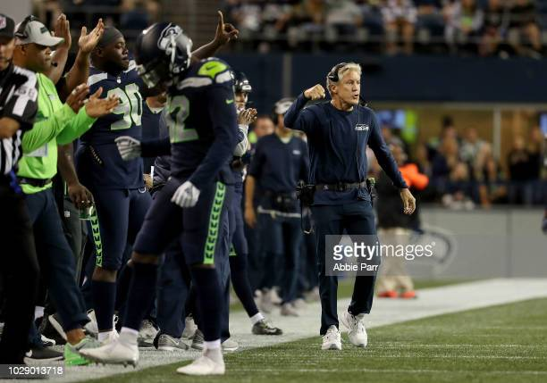 Head Coach Pete Carroll of the Seattle Seahawks reacts from the sidelines in the third quarter against the Oakland Raiders during their preseason...