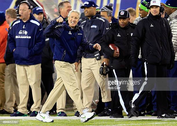 Head coach Pete Carroll of the Seattle Seahawks reacts in the fourth quarter against the the Denver Broncos during Super Bowl XLVIII at MetLife...
