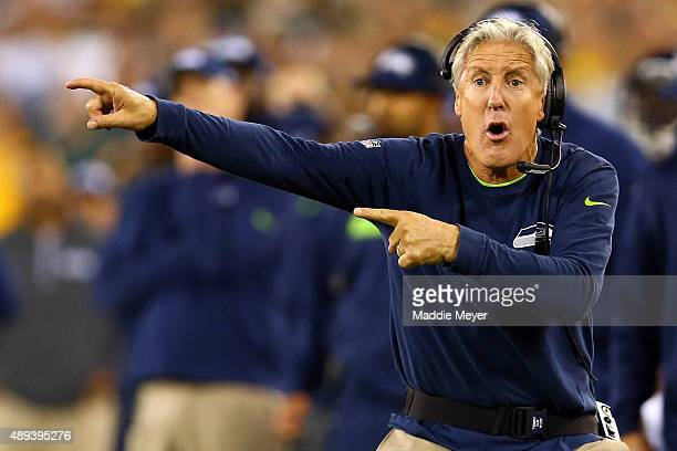 Head coach Pete Carroll of the Seattle Seahawks reacts to a call late in the second quarter against the Green Bay Packers during their game at...