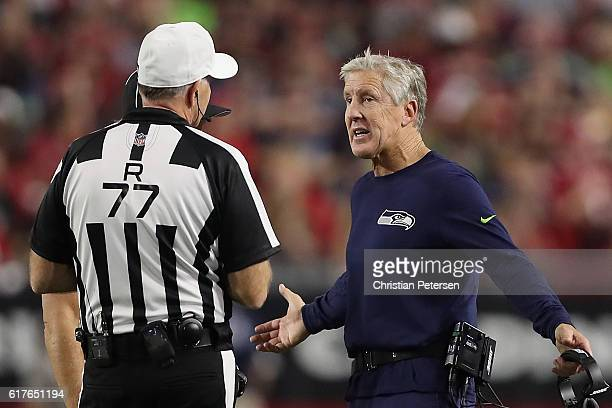 Head coach Pete Carroll of the Seattle Seahawks reacts to referee Terry McAulay during the second half of the NFL game against the Arizona Cardinals...